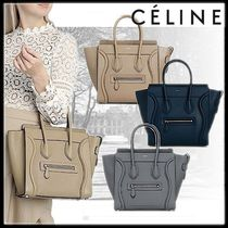 CELINE Luggage Casual Style Calfskin Street Style A4 2WAY Plain Leather