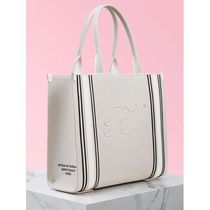Roger Vivier Casual Style Canvas Bi-color Leather Office Style