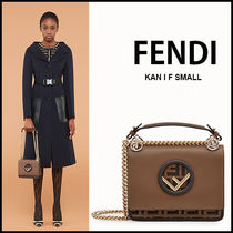 FENDI KAN I Casual Style Unisex Calfskin Canvas Street Style 2WAY Chain
