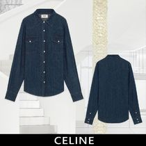 CELINE Long Sleeves Cotton Front Button Shirts