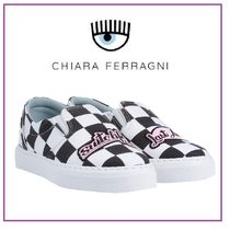 Chiara Ferragni Other Plaid Patterns Round Toe Rubber Sole Casual Style