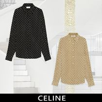 CELINE Dots Silk Long Sleeves Front Button Shirts