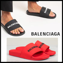 BALENCIAGA Plain Shower Shoes Logo Shower Sandals