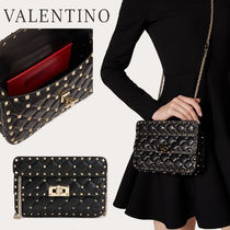 VALENTINO Casual Style Calfskin Blended Fabrics Street Style 2WAY