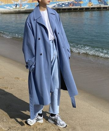Street Style Collaboration Plain Long Trench Coats