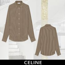 CELINE Stripes Silk Long Sleeves Front Button Shirts