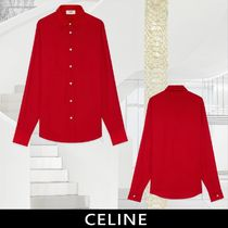 CELINE Long Sleeves Plain Front Button Shirts