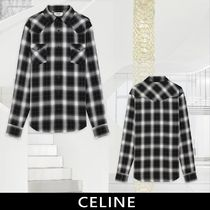 CELINE Tartan Long Sleeves Front Button Shirts