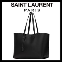 Saint Laurent Casual Style Calfskin A4 Plain Office Style Logo Totes