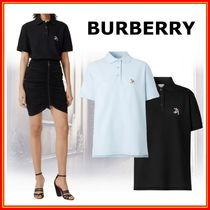 Burberry Casual Style Cotton Short Sleeves Oversized Polos