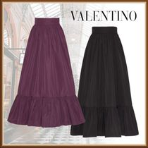 VALENTINO Casual Style Plain Cotton Long Elegant Style Maxi Skirts