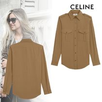 CELINE Casual Style Linen Long Sleeves Plain Cotton Military