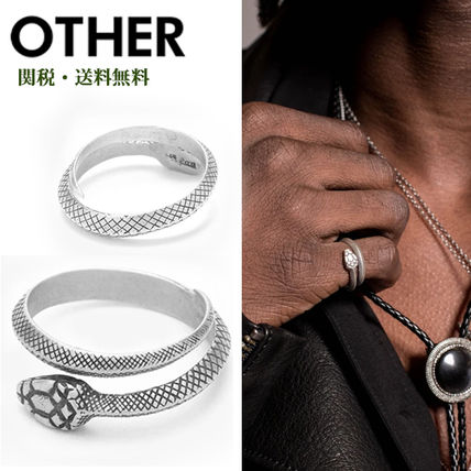Street Style Silver Python Rings