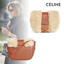 CELINE Casual Style Calfskin Lambskin 2WAY Plain Leather Crossbody