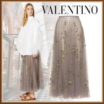 VALENTINO Casual Style Nylon Pleated Skirts Long Party Style