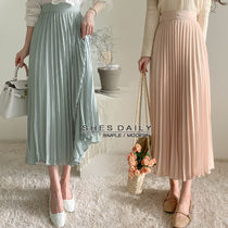Flared Skirts Casual Style Pleated Skirts Plain Long