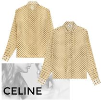 CELINE Dots Casual Style Silk Long Sleeves Medium Party Style