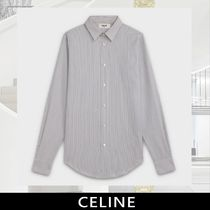CELINE Stripes Long Sleeves Cotton Front Button Shirts