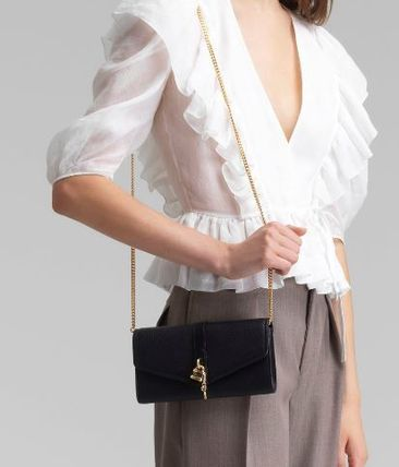 Chloe ABY 2WAY Chain Plain Leather Party Style Crossbody Party Bags