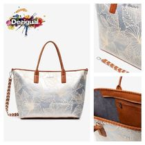 Desigual Flower Patterns Casual Style 2WAY Elegant Style Totes
