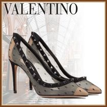 VALENTINO Dots Studded Sheer High Heel Pumps & Mules