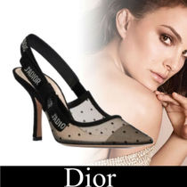 Christian Dior Dots Plain Toe Casual Style Suede Pin Heels Party Style