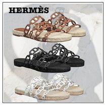 HERMES Casual Style Party Style Shower Shoes Flip Flops Slippers
