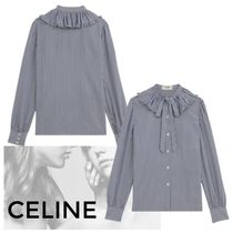 CELINE Stripes Casual Style Silk Long Sleeves Medium Party Style