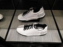 CHANEL Street Style Plain Leather Logo Sneakers