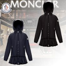 MONCLER SARCELLE Casual Style Nylon Plain Long Logo Peacoats