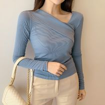 Casual Style Long Sleeves Plain Tops
