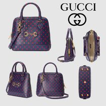 GUCCI Dots Casual Style 2WAY Leather Handbags