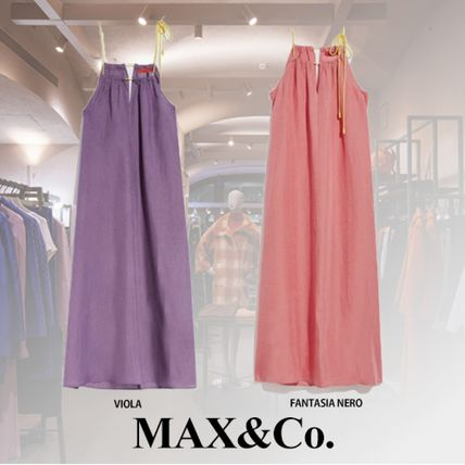 Casual Style A-line Linen Sleeveless Flared Plain Long