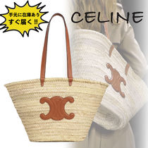 CELINE Triomphe A4 Leather Straw Bags