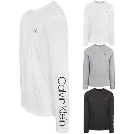 Crew Neck Long Sleeves Plain Cotton Logos on the Sleeves