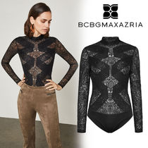 BCBG MAXAZRIA Flower Patterns Paisley Long Sleeves Party Style High-Neck