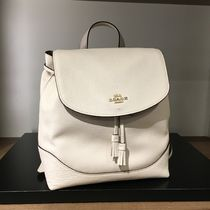 Coach Casual Style 2WAY Chain Plain Leather Office Style Backpacks