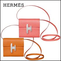 HERMES Plain Leather Folding Wallet Icy Color Folding Wallets
