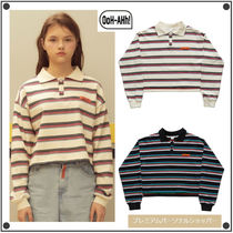 OoH AHh Stripes Casual Style Street Style Long Sleeves Cotton Polos