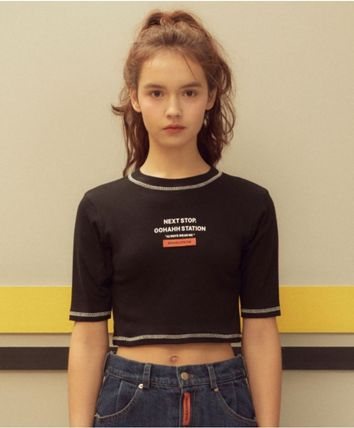 Crew Neck Short Street Style Cotton Short Sleeves Cropped