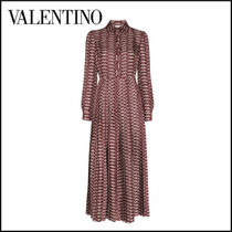 VALENTINO Casual Style Silk Long Sleeves Long Party Style