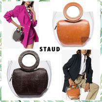 STAUD Casual Style Blended Fabrics Bag in Bag Plain Leather