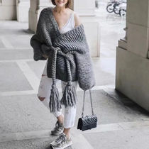 Cable Knit Casual Style Dolman Sleeves Long Sleeves Cotton