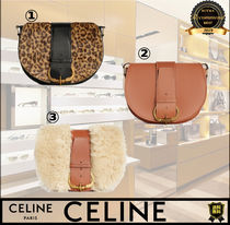 CELINE Leopard Patterns Casual Style Calfskin Blended Fabrics 2WAY