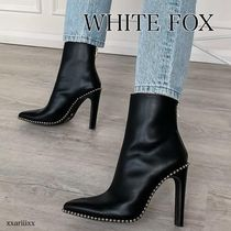 WHITE FOX Casual Style Studded Plain Block Heels Ankle & Booties Boots