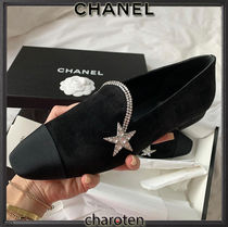 CHANEL ICON Star Plain Toe Casual Style Suede Blended Fabrics Plain