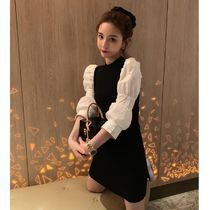 Short Casual Style Tight A-line Flared U-Neck Bi-color