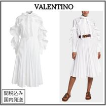 VALENTINO Long Sleeves Plain Cotton Medium Party Style Shirt Dresses