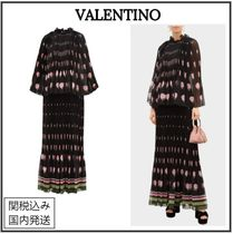 VALENTINO Flower Patterns Maxi Silk Long Party Style Elegant Style