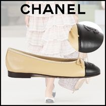 CHANEL Blended Fabrics Bi-color Leather Ballet Shoes
